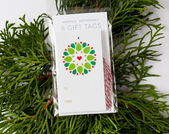 Seasonal Wreath Gift Tags | Xmas Tags + Baker's Twine | Christmas Gift Wrap | Set of 8