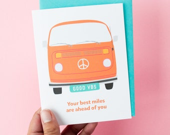 Best Miles Birthday Card | VW Bus Happy Birthday | Adventure Van Life | Older Birthday