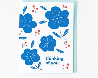 Floral Thinking of You Greeting Card | Blue Flowers + Red Berries | Card + Envelope