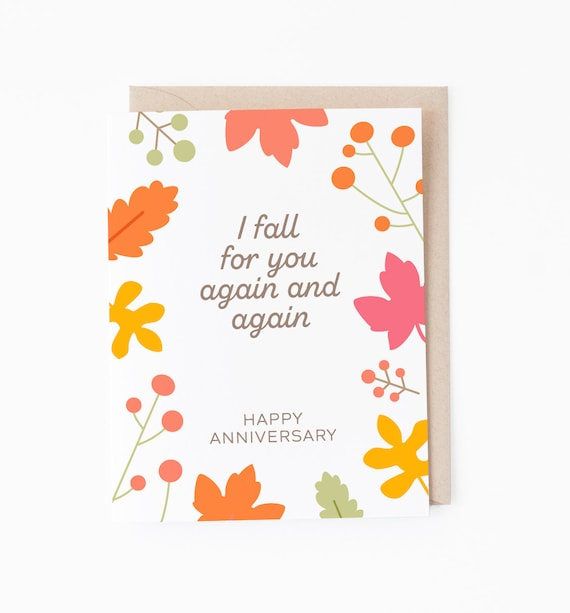 Anniversary greeting card fall for you celebration card etsy image 0 m4hsunfo