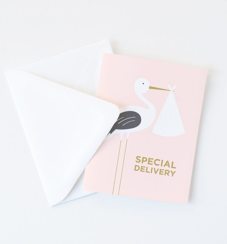 Pink Stork Special Delivery Greeting Card New Baby Card A2 Size White