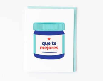 Que Te Mejores Card | Vivaporu Vaporu Encouragement or Get Well Greeting Card | Spanish Card with Envelope