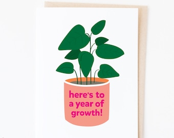 Year of Growth | Happy New Year greeting card | 2021 vibes | house plant lover