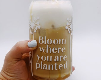 BLOOM glass coffee can | iced coffee glass | beer can | Spring coffee glass | summer drink cup | glass | drinking cup glass