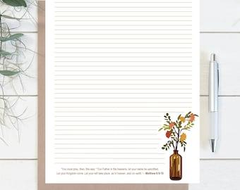 NOTEPAD JW Letter Writing Stationary Matthew 6:9-10 Kingdom | Lord's Prayer | Floral Vase | English