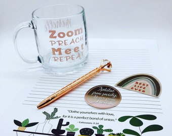 JW Letter Writing Gift Box | Stationary | Personalized Mug | Pen | Stickers | Customized Gifts | Encouragement | Just Because Gift