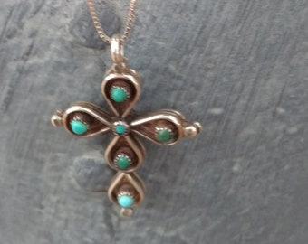 Native American Sterling Silver Cross Necklace, Turquoise Cross pendant, Coral Cross Pendant, Necklaces, Southwestern Jewelry, Cross Jewelry