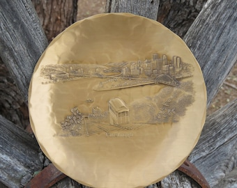 Wendell August Forge Pittsburgh City Skyline Waterfront Plate, Housewarming Gift for Him or Her, Collectors Plate, Solid Bronze Plate, Xmas