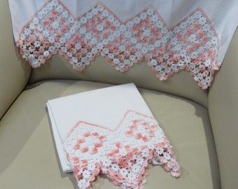Vintage Crocheted Cotton Pillowcases, Peach & White, Set of Two, Excellent Vintage Condition, Floral Flower Design Pillow Cases, Bedding