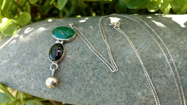 Sterling silver Jade green necklace Bohemian jewelry Onyx necklace Onyx jewelry Necklaces Christmas Jewelry Navajo Jewelry tribal