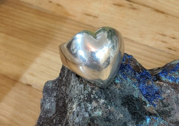 Heart Sterling Silver Ring,  Chunky Statement Jewe