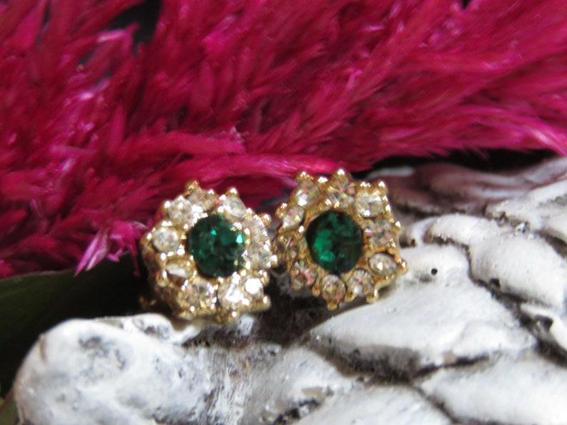 Emerald Green /& Cubic Zirconia Rhinestone Jewelry Dainty Emerald Post Earrings Stud Earrings May Birthstone ChristmasHoliday Jewelry