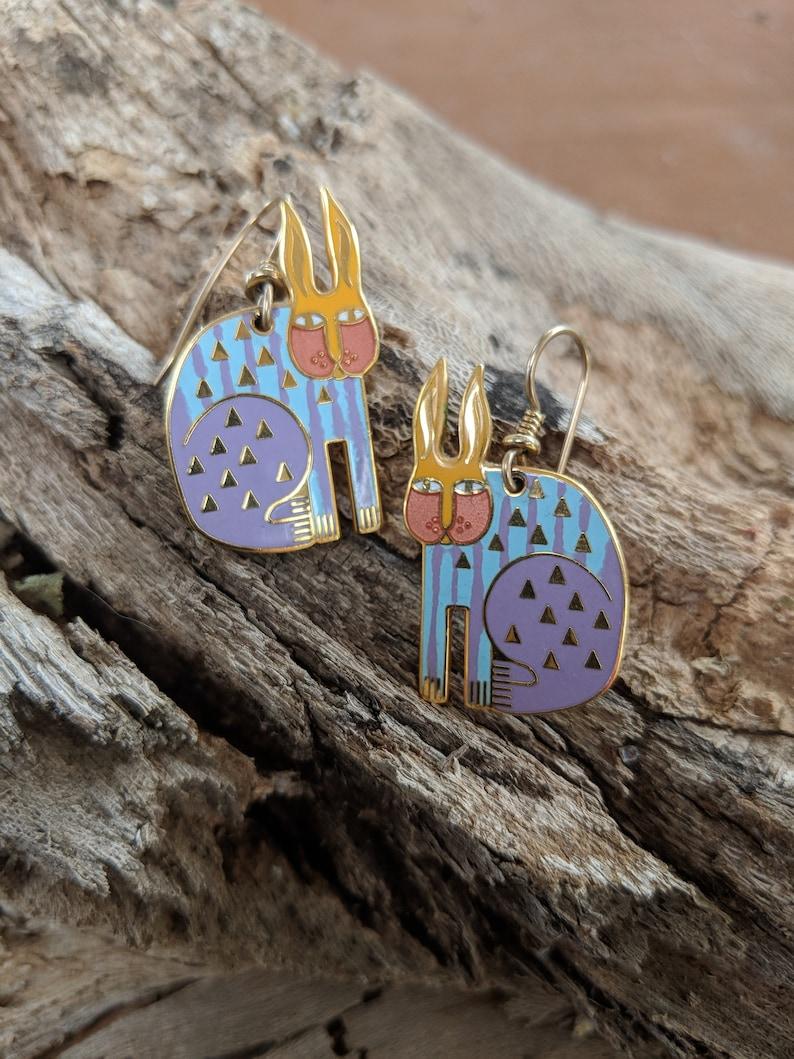 Laural Burch Rabbit For Ross Enmaled Dangle /& Drop Earrings Signed Artisan Jewelry Easter Wear,