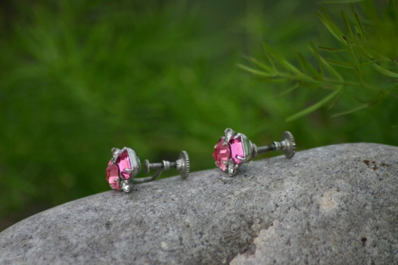 Earrings, Screw Back, Vintage Lady, Costume Jewel… - image 4