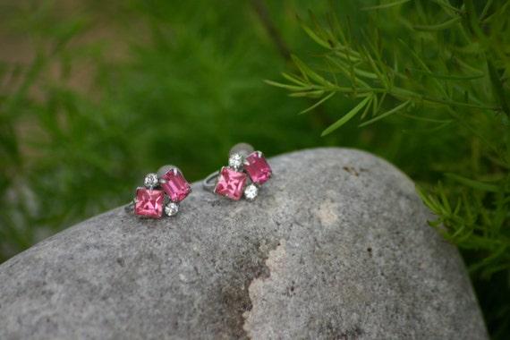 Earrings, Screw Back, Vintage Lady, Costume Jewel… - image 2