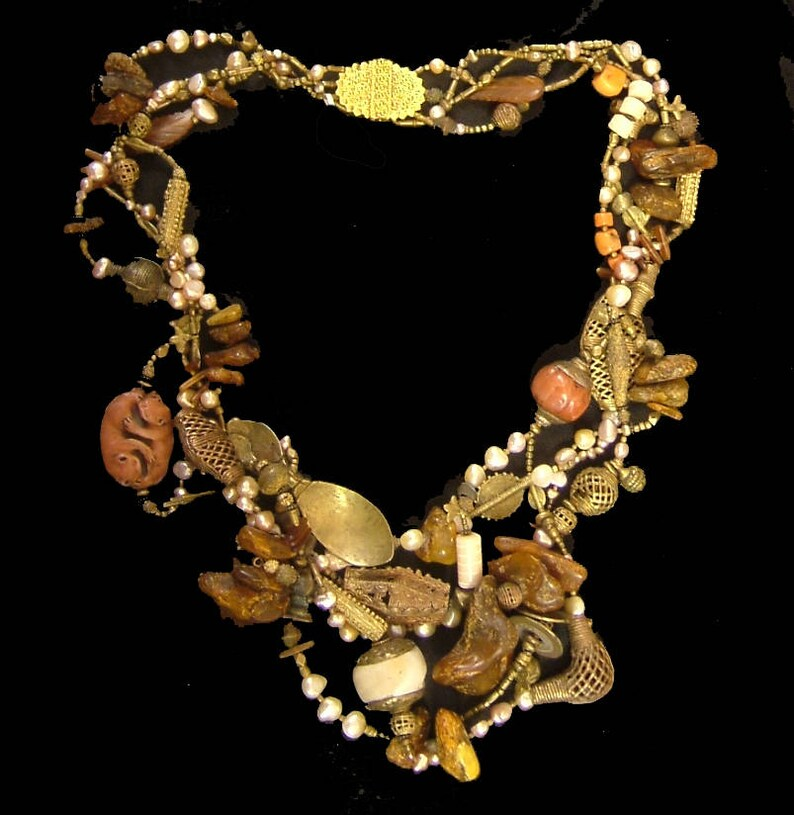 African brass Tibetan coral pearls amber golden horn image 0