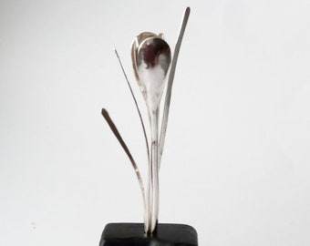 Crocus Sculpture hand forged in sterling silver