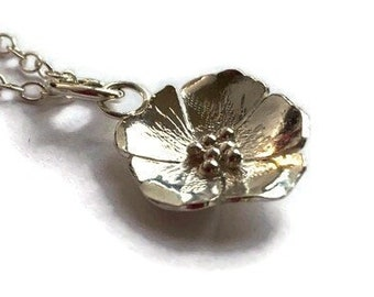 Dog rose wild rose pendant hand forged in sterling silver