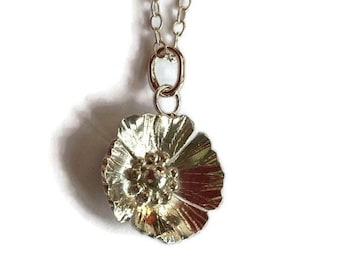 Hand forged poppy pendant, matching earrings available in separate listing