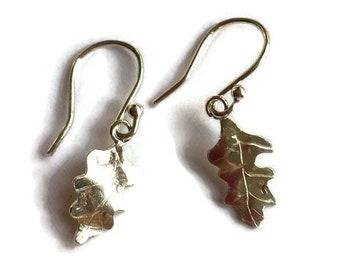 Small Oak leaf earrings