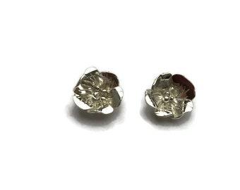 Medium hand forged wild rose stud earrings
