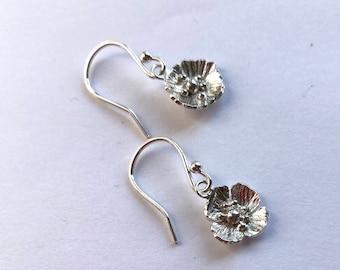 Poppy drop earrings hand forged in sterling silver