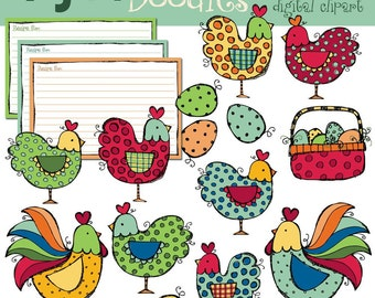INSTANT DOWNLOAD roosters and hens digital clipart
