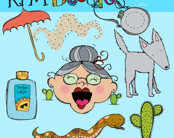 KPM Old Lady who swallowed a Cactus Digital Clipart