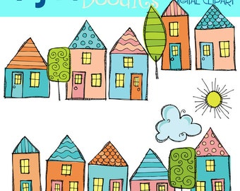 KPM Little beach houses digital clipart