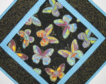 Butterfly Table Topper,  quilted, handmade, multicolored, gold metallic, Timeless Treasures fabric
