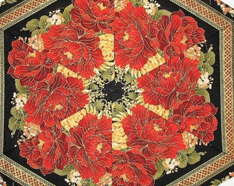 Floral Table Topper, Hexagon, Asian, Spring, Summer, red, gold, quilted, handmade, quilted table topper, candle mat