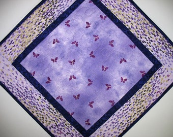 Butterfly Table Topper, Purple, Spring, Summer  handmade, quilted, fabric Kanvas