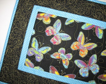 Table Runner Butterfly,  quilted table runner, handmade, multicolored, gold metallic