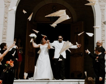 50 Personalized Paper Airplanes for Your Wedding Ceremony or Reception Send Off / Unique Wedding Exit Ideas