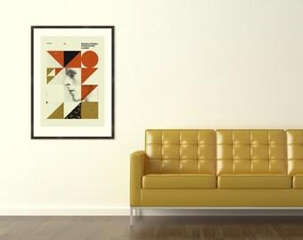 DAVID BOWIE - London, Rainbow Theatre, 20 x 28 Handprinted Silkscreen Art Print, Mid-Century Modern Poster, Metallic Gold Ink, Vintage