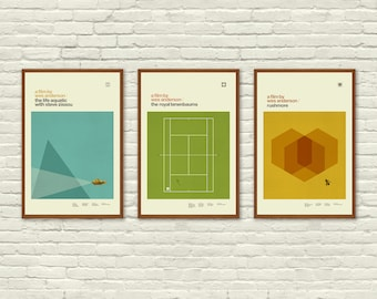 WES ANDERSON Inspired Posters, Art Print Movie Poster Series - 12 x 18 Minimalist, Graphic, Hollywood Regency, Vintage Style, Retro Home