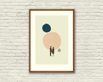 LOVE in THE ABSTRACT - Lost in Translation Inspired Poster - 12 x 18 Mid Century Modern, cut paper collage, shapes, vintage, retro, salmon