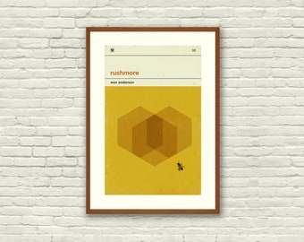 RUSHMORE Inspired Poster, Art Print Movie Poster - 12 x 18 Minimalist, Graphic, Bee, Hexagon, Hollywood Regency, Vintage Style, Retro Home
