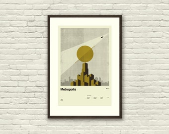 SUPERHERO CITY Inspired Poster, Superman (Metropolis), Movie Art Print  - 12 x 18, Art Deco, Modern