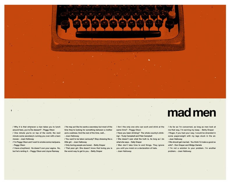 Mad Men Typewriter Inspired Poster - 20 x 30 Handprinted Silkscreen Art  Print, New York, Manhattan, Mid-Century Modern, Mod, Office