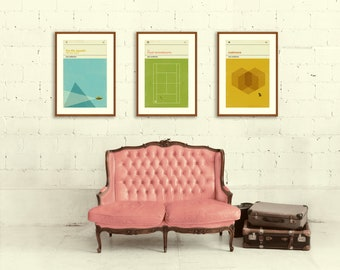 WES ANDERSON Inspired Posters, Art Print Movie Poster Series - 12 x 18 Minimalist, Graphic, Mid Century Modern, Vintage Style, Retro Home