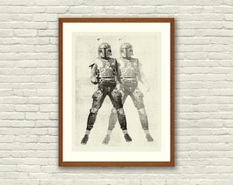 BOUNTY HUNTER - Star Wars Inspired, Boba Fett 18 x 24 Handprinted Silkscreen Art Print, Modern Poster, Boutique, Retro Home