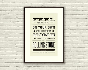BOB DYLAN Inspired, Like A Rolling Stone Lyric Poster - 11 x17 Typography Art Print, Modern Poster, Retro Home, Vintage, Folk Rock Music