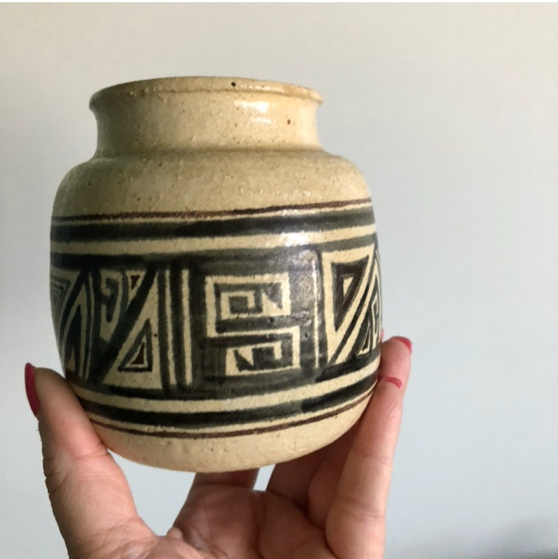 vintage pottery geometric planter  bowl