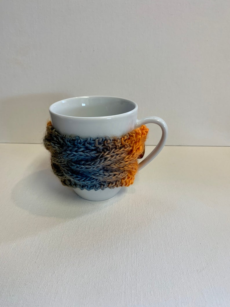 Orange and Gray Knitted Mug Cozy image 0