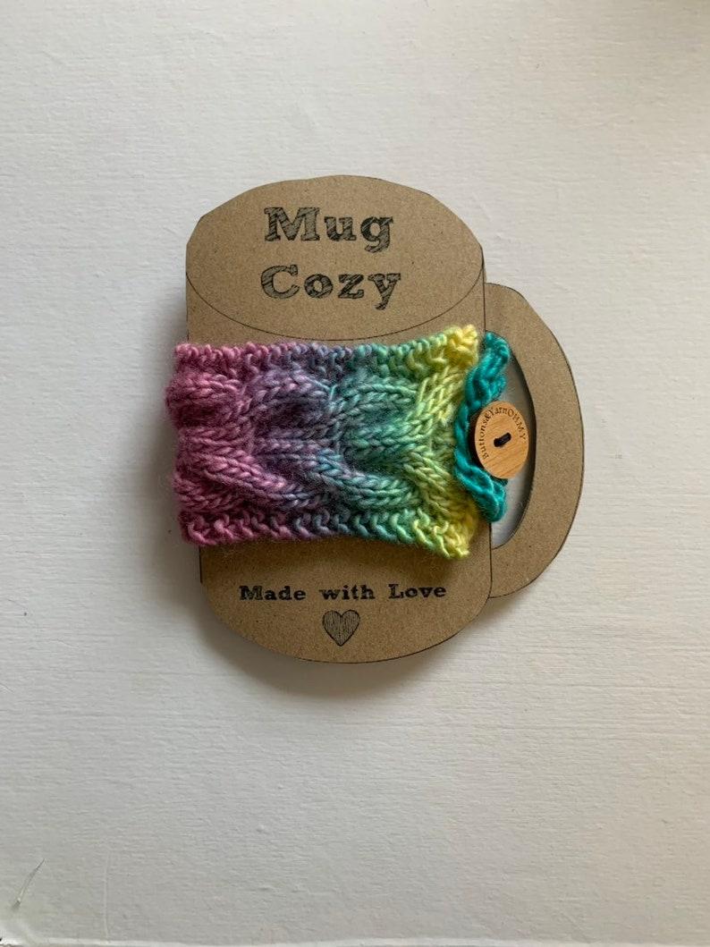 Pastel Rainbow Cable Knit Mug Cozy image 0