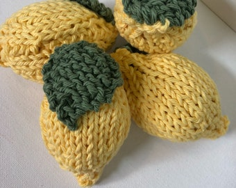 Pretend Lemon, Hand Knit Fake Lemon, imagination play
