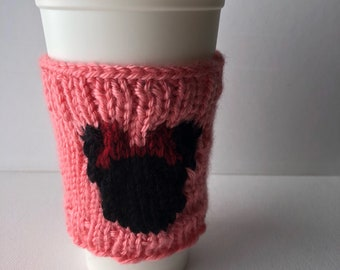 Pink Mouse Ears Knit Coffee Cozy - knitted mug cozy