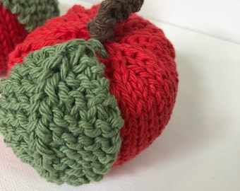 Pretend Red Apple, Hand Knit Fake Cotton Apple, Knit Fruit
