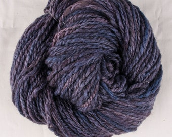 Handspun Kettle Dyed Blue-faced Leicester Yarn Purple Colorway Worsted 2-Ply Yarn